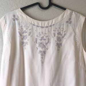 Tops - Vintage tunic slip with hand lace detailing